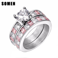 2pcs Women S Stainless Steel Ring CZ Crystal Inlay Hot Sale Finger Jewelry