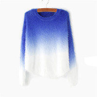 Women Clothing S Sweater Oversized Winter Thick Mohair O Neck Gradient Color Blue Pink Casual Knitwear