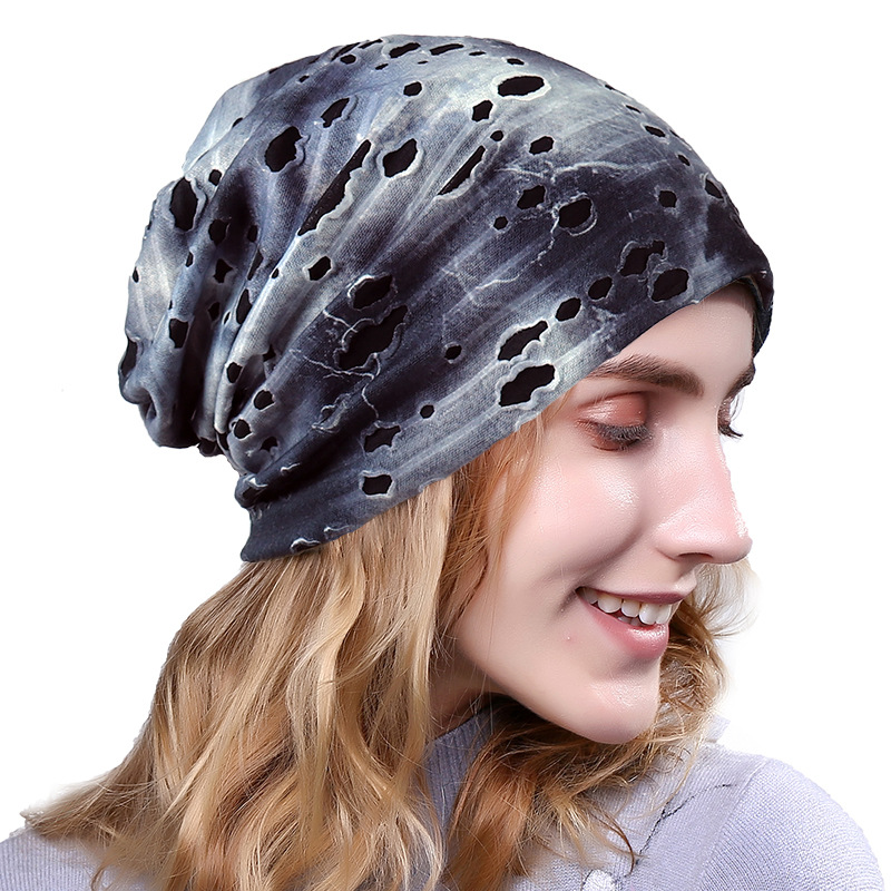 New Hip Hop Beanie Autumn Spring Skullies Beanies For Women's Hat Hole Direction Soild Warm Caps Breathable Headscarf Cap
