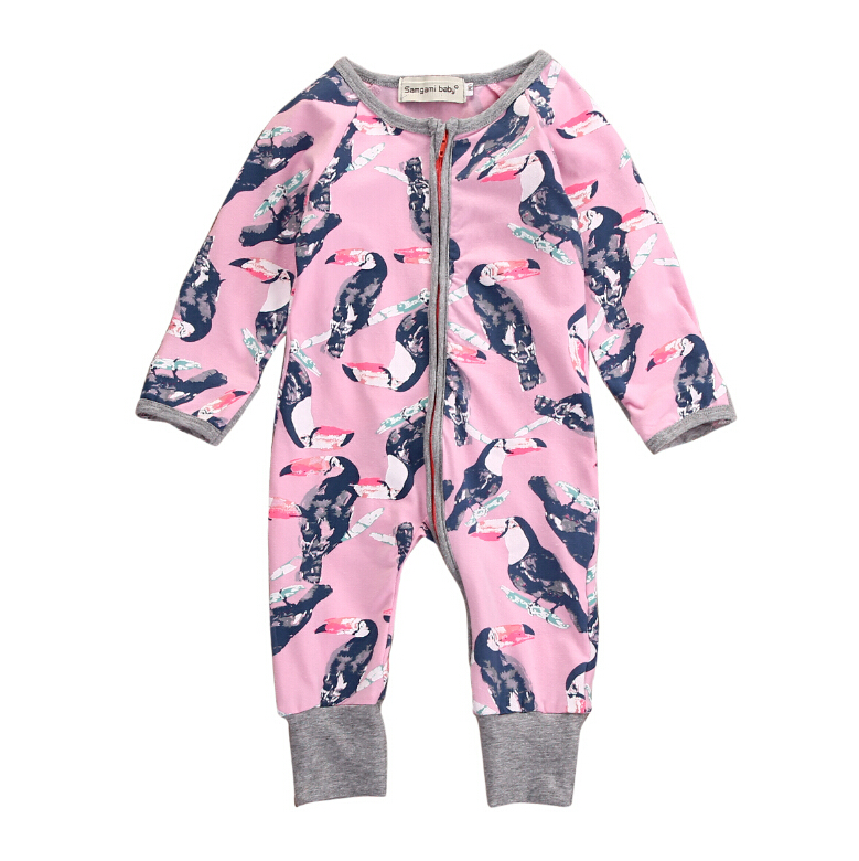 Romper Long Sleeve Jumpsuit Colorful Baby Clothing Outfit Set Newborn Toddler Infant Baby Boys Girls Parrot Birds Clothes fashion 2pcs set newborn baby girls jumpsuit toddler girls flower pattern outfit clothes romper bodysuit pants