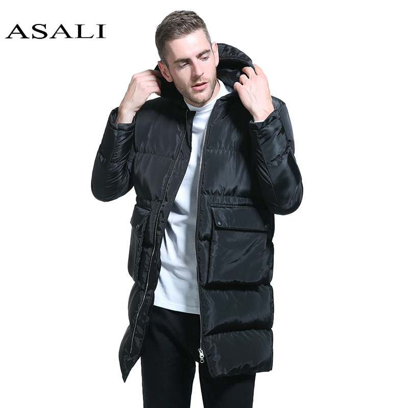 ASALI Man Winter Coat X-Long Parkas Men Hooded Winter Jacket Thick Warm Casual Parka Windproof Coat slim fitted Eur Size M-3XL