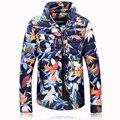 Fashion winter parkas men color leaves printed new down jacket 90% white duck down coat Men's lapel overcoat