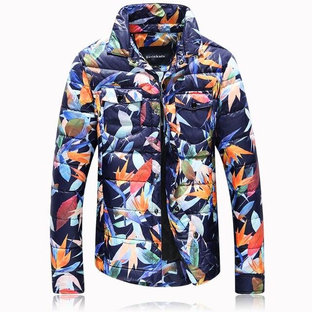 Parkas inverno moda homens cor folhas impresso novo revestimento para baixo 90% de pato branco para baixo dos homens casaco casaco de lapela