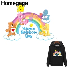 Homegaga Care bears heat press stickers iron on patches DIY Handmade clothes jacket t shirt thermal transfer D2145