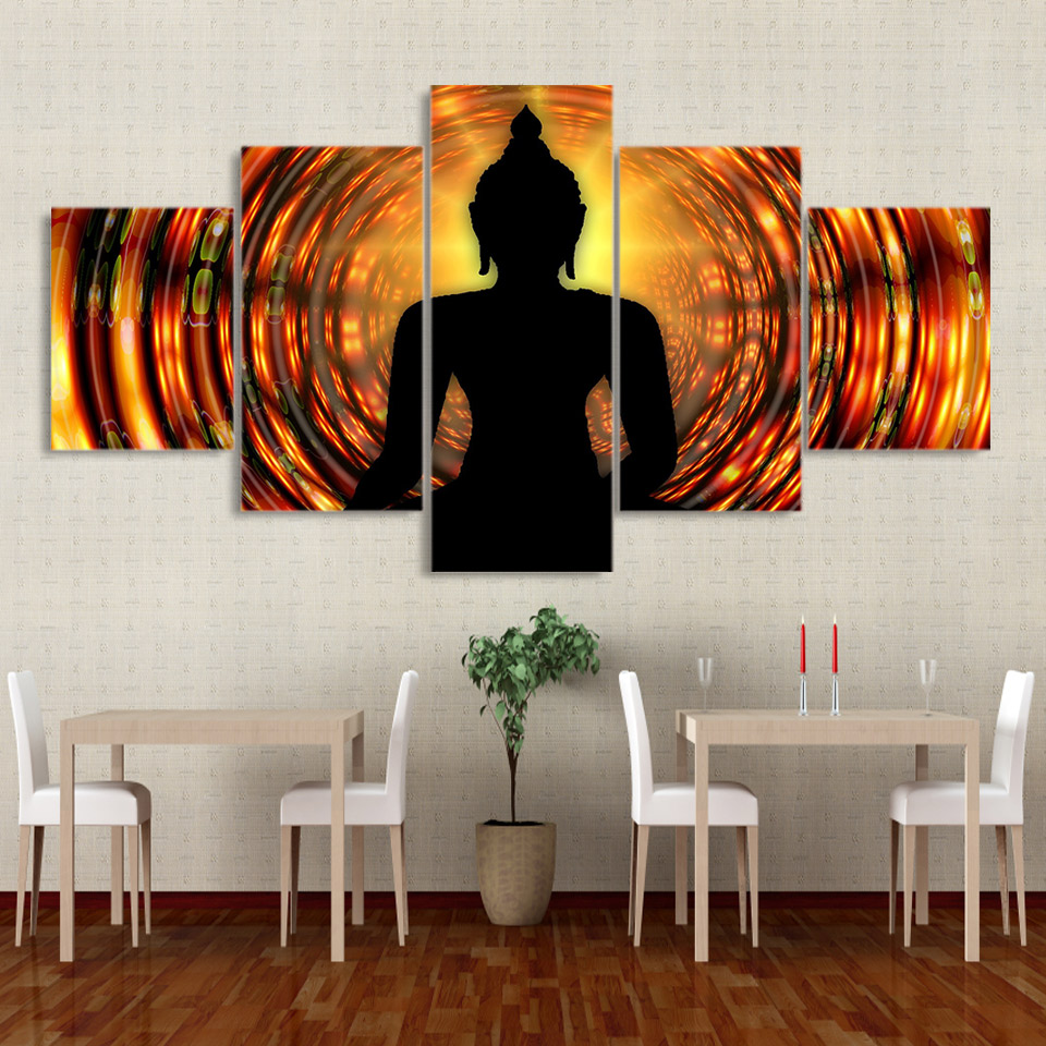 Framework Wall Art HD Poster Modern 5 Panel Buddha Backlight Zen Home Decor Living Room Canvas Print Painting Modular Pictures