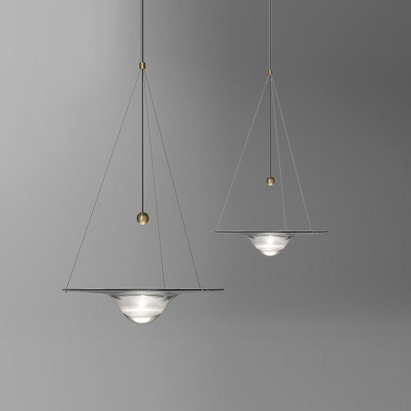 Nordic современный круглый подвеска в форме шарика Огни Творческий круглая луна латунь Подвеска Лампы для столовой гостиной drplight