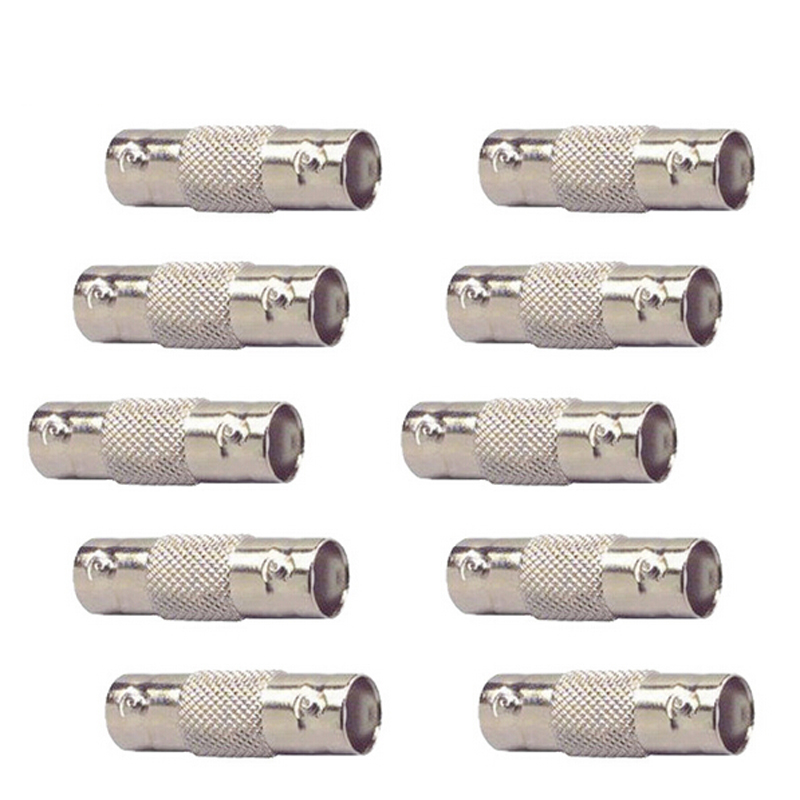 10pcs/lot BNC Female to Female Inline Coupler Coax BNC Connector Extender for CCTV Camera Security Video Surveillance System