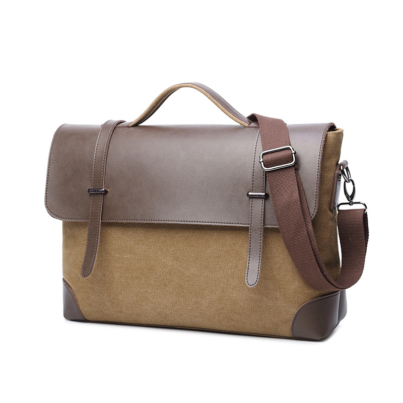 Vintage Men Briefcase Canvas Leather Laptop bag 14 13 3 13 inch Business Shoulder Crossbody Bag