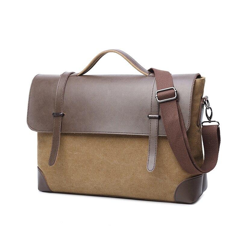 Vintage Men Briefcase Canvas Leather Laptop bag 14 13.3 13 inch Business Shoulder Crossbody Bag Casual Durable Leather Messenger