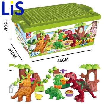 Lis 40 Pcs/Lot Dino Valley blocs de construction ensembles grandes particules Animal dinosaure monde modèle jouets briques Duploe pas de boîte d'origine