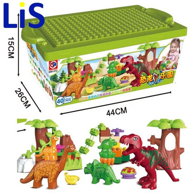 Lis 40 unids/lote Dino Valle juegos de bloques de construcción las partículas grandes dinosaurio modelo del mundo juguetes ladrillos Duploe sin caja original