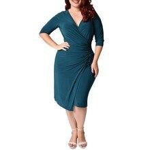 Женская Летний стиль ожирение XL-34-5XL плюс Размеры сексуальное платье без рукавов хлопок сплошной глубокий v-образным вырезом дамская сумка бедра Повседневные платья 1348