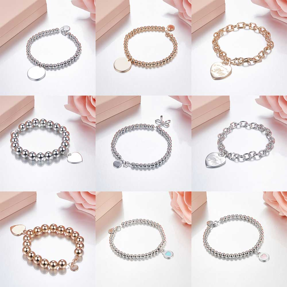 TIFF 100% 925 Sterling Silver Big Ball/small Ball Bracelet Fit DIY Original Jewelry Hanging Love Sign Girl Birthday Gift