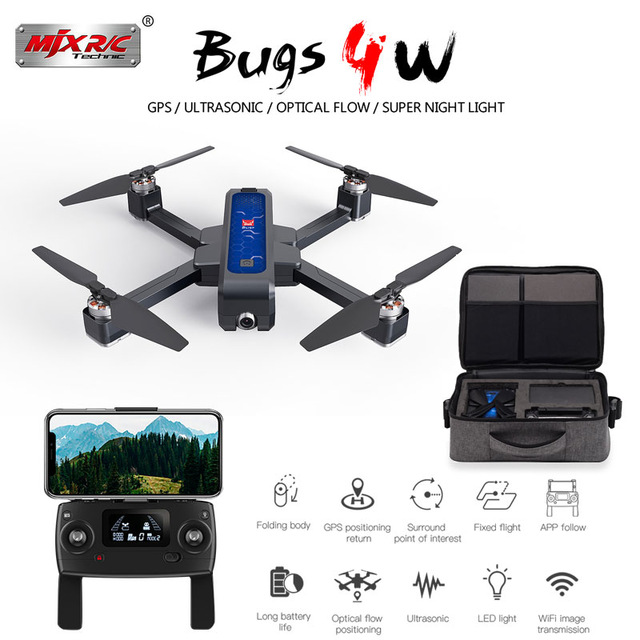 Mjx Bugs4 W B4w 5g Wifi Fpv Gps Brushless Foldable Ultrasonic Rc Drone 2k Camera Anti shake Optical Flow Rc Quadcopter Vs F11-in RC Helicopters from Toys & Hobbies