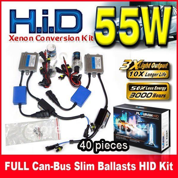 ФОТО 40 Sets 12V 55W FULL Can-bus Ultra Slim Ballasts HID Xenon Conversion Kits Silver Single Beam H1 H3 H4 H7 H8 9004 9005 9006 9007