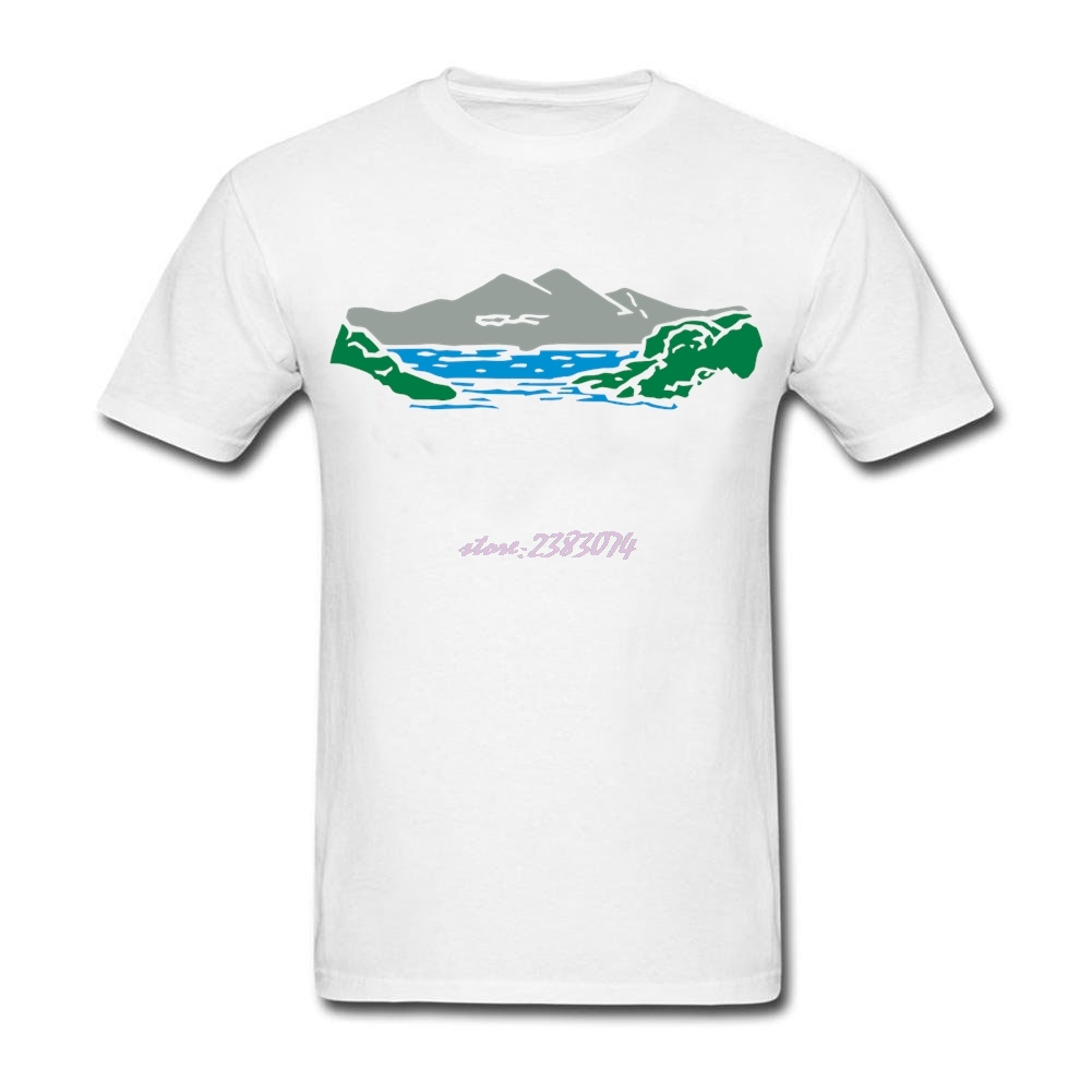 Design your own eco-friendly t-shirt - Funny Males Mountain Lake Organic Cotton Round Collar T Shirts Man Short Sleeves Design Your Own T Shirt