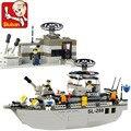Kits de edificio modelo compatible con lego city marina nave 709 bloques 3D aficiones modelo Educativo y juguetes de construcción para los niños