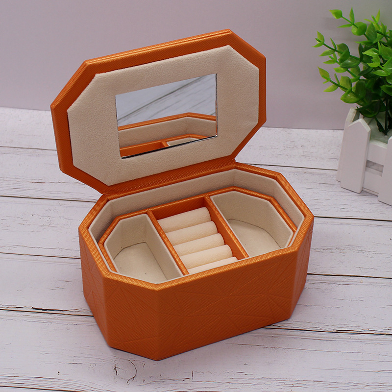 Strong PU Wooden Jewel Carrying Box Leather Two Layers Case Portable Travel Jewel Displayer Ring Necklace Ring Jewelry Case jewel box