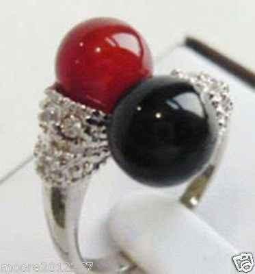 จัดส่งฟรี>>ใหม่ที่สวยงามของแท้ธรรมชาติสีดำและสีแดงโมราแหวนเงินขนาด7-8 #