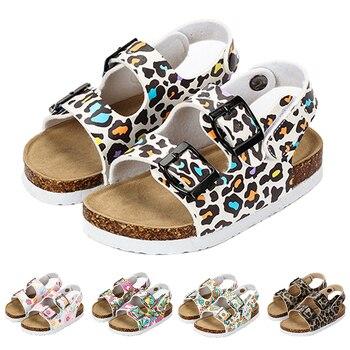 2019 летние сандалии для девочек модная пробка леопардовые удобные пляжные сандалии для малышей Нескользящие 2 года детские тапочки обувь