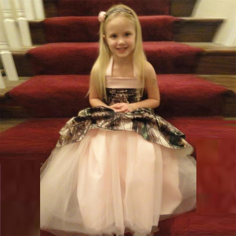 Halter straight neckline a line pink camo flower girl dress halter straight neckline a line pink camo flower girl dress camoflage little girls first commuinion dress girls pageant dress in flower girl dresses from mightylinksfo