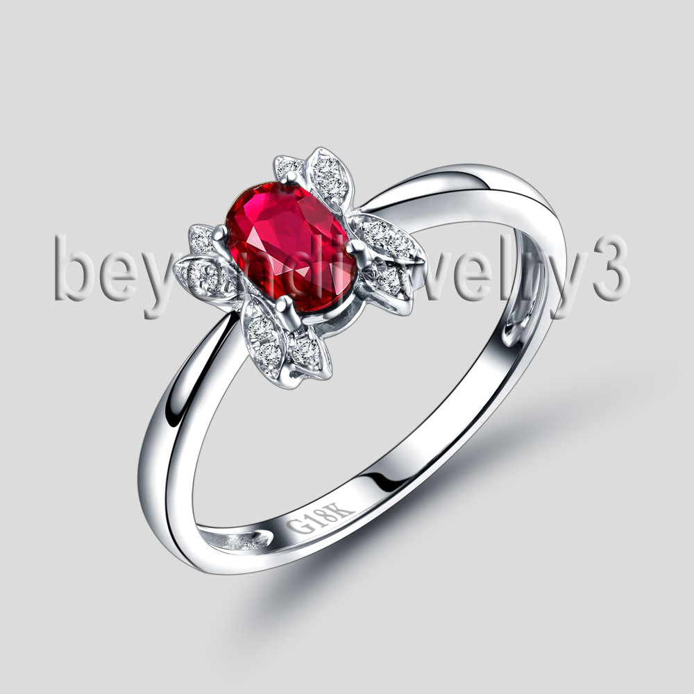 New Arrival Solid 18Kt White Gold Natural Ruby Ring Oval 4x6mm Natural Wedding Jewelry WU291