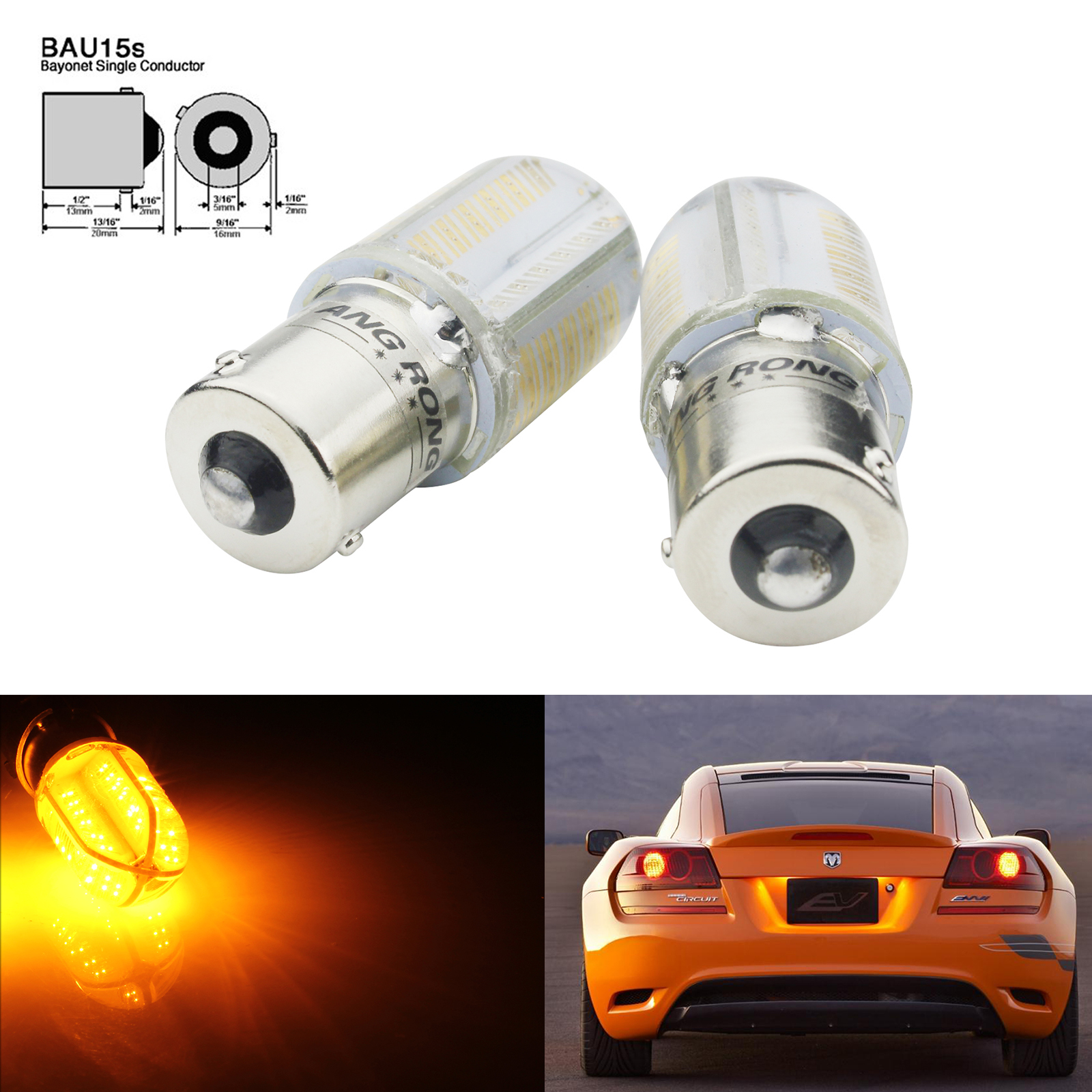 2 x 581 12V PY21W Amber Orange Indicator Signal Off Set Pins Car Bulbs BAU15S