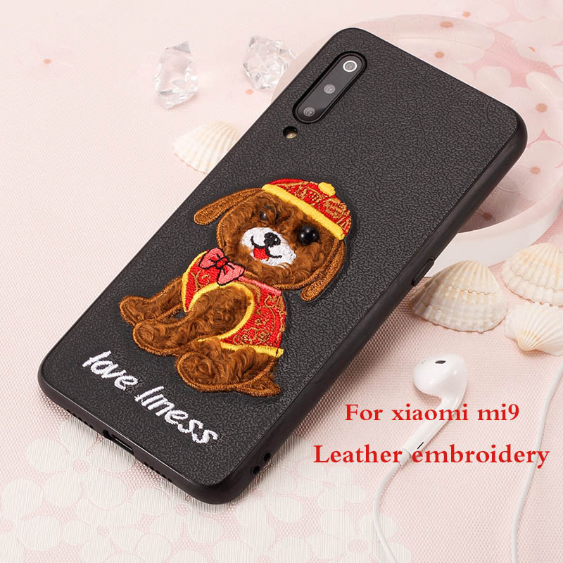Luxury Leather Skin Cloth Embroidery cases For Xiaomi Mi 9 Anti knock TPU Soft Back cover for Xiaomi redmi Note 7 Case Coque in Fitted Cases from Cellphones Telecommunications