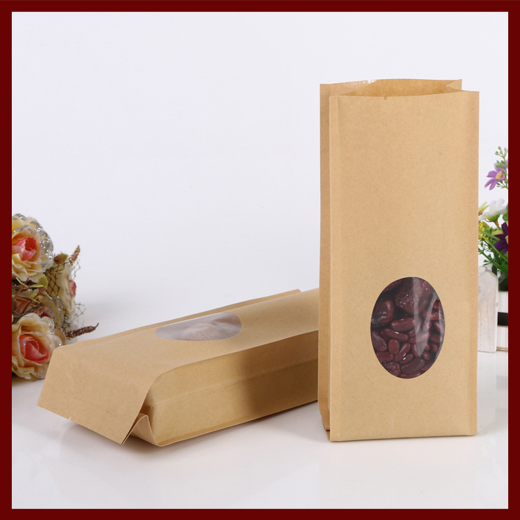 10*28+6cm 20pcs kraft paper Organ Window bag for gift/tea/candy/jewelry/bread Packaging Paper food bag diy Jewelry Pack Display