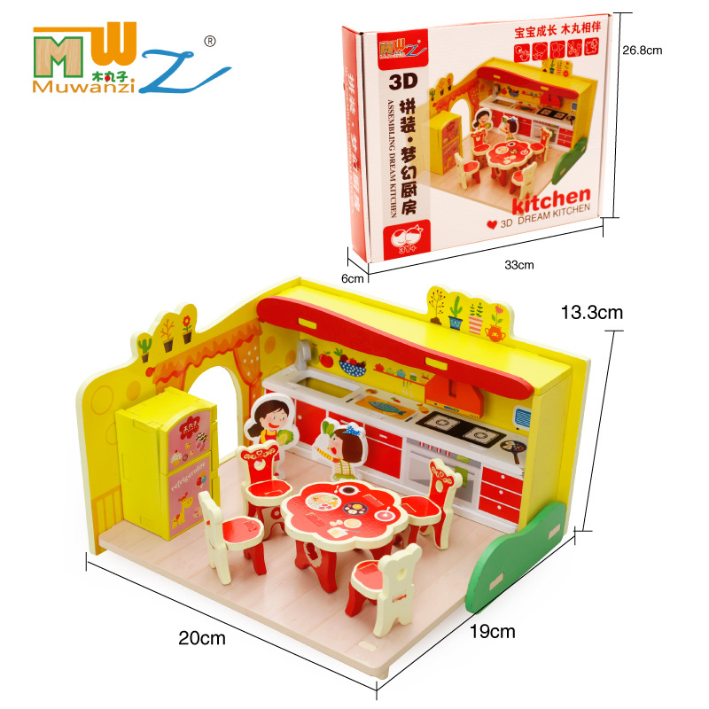 Free shipping children play toys, girls play house dream kitchen kitchen utensils and tableware suit Kids wooden toy/Gift