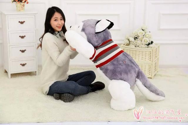 Rayures pull enclin husky grand 100 cm gris husky chien en peluche oreiller de couchage, cadeau d'anniversaire h906