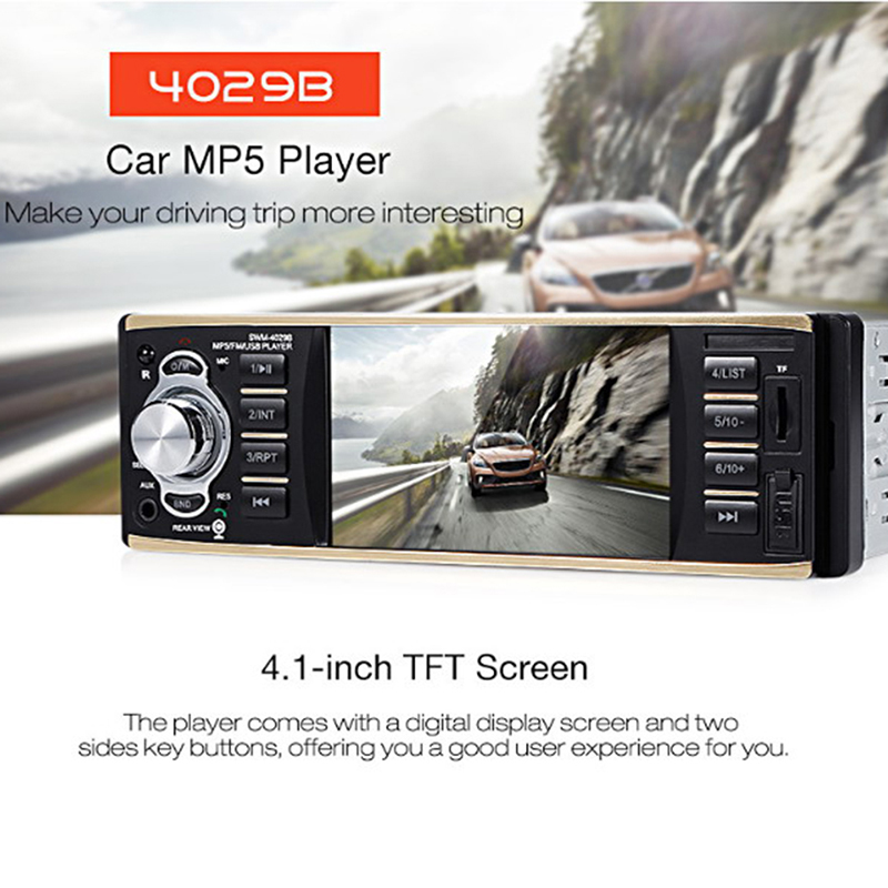 4.1 Inch Single Din Car Stereo MP5 Player With Bluetooth FM Radio Car Audio