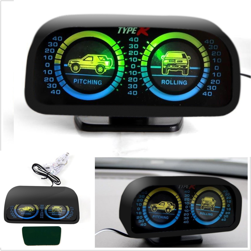 Car Auto Compass adjustableBalance MeterSlope Indicator Land Meter with LED Light For Off-Road Vehicle SUV Guide ball TYPER