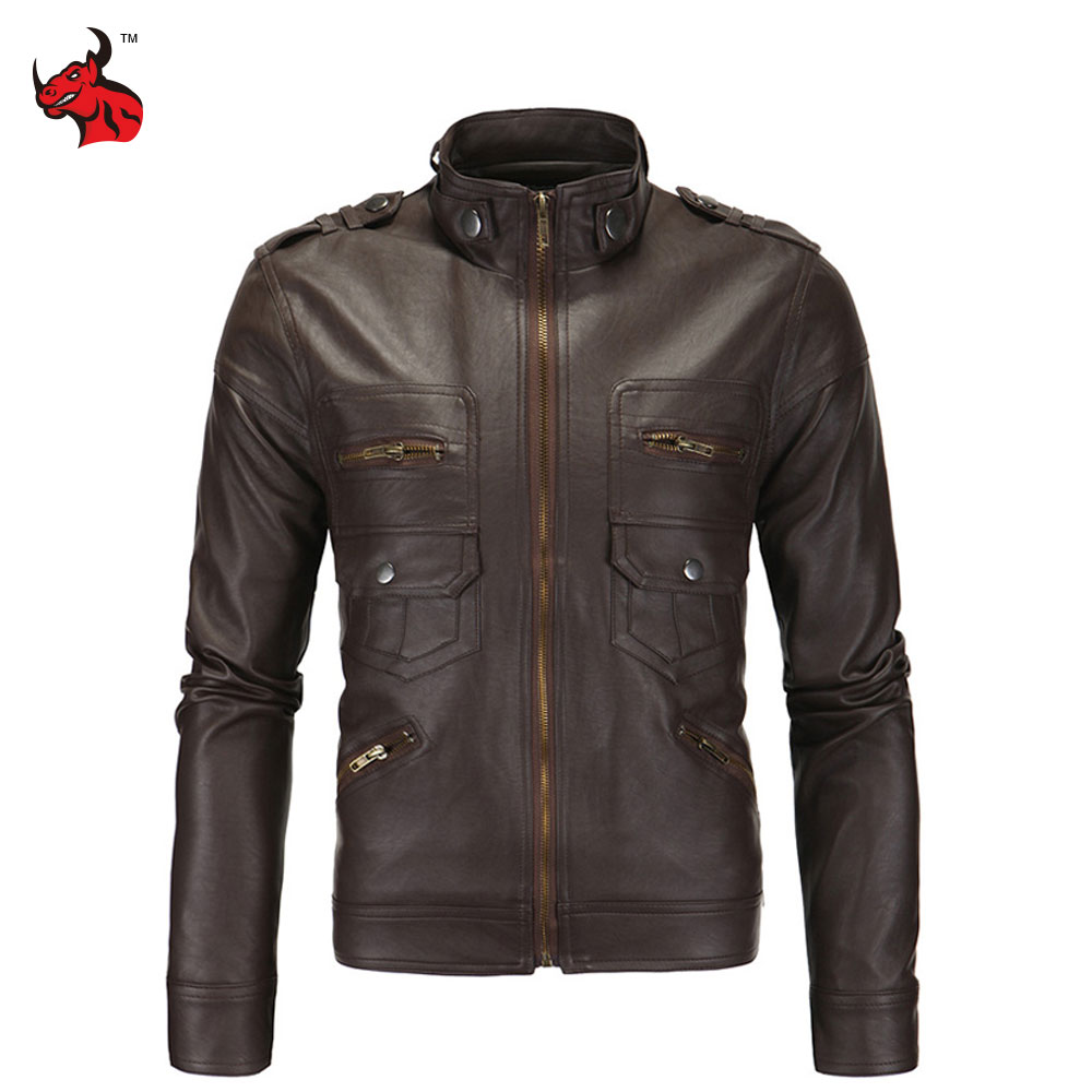 Mens Vintage Motorcycle Jacket Slim PU Leather Jacket Classical Moto Jacket Spring Autumn Stand Collar Motorcycle Clothing цена