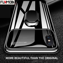 Luxury Silicone Glass Phone Case With Stand Magnetic Car Holder For iPhone 6 6s 7 8 Plus X XR XS Max Back Cover Coque