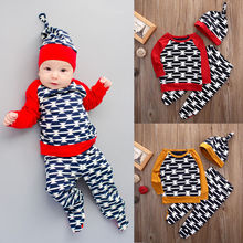 newborn baby toddler sets casual outfit clothes o neck long sleeved tops pants hats 3pcs set baby clothes for boys and girls Newborn Baby Toddler Sets Casual Outfit Clothes O-Neck Long-sleeved Tops+ Pants+Hats 3Pcs Set  Baby Clothes For Boys And Girls
