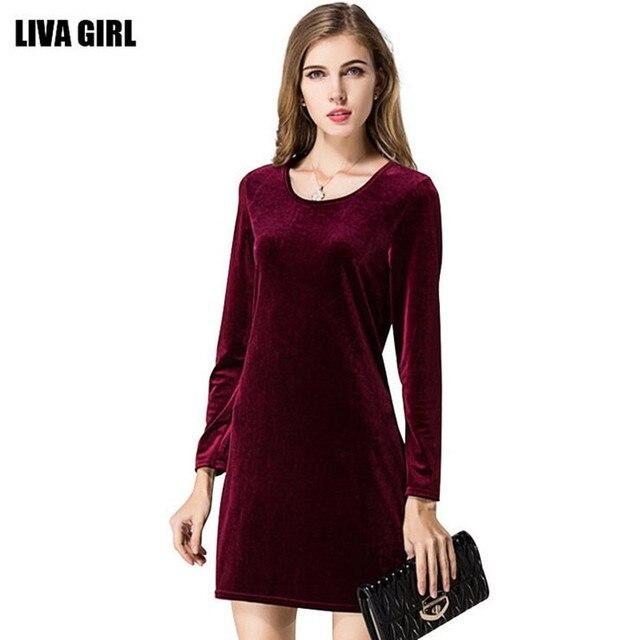 Fashion Spring Autumn Velvet Dress Women Long Sleeve High Waist