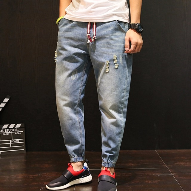2018 Retro Men Distressed Harem Jeans Oversize 4XL Men Baggy Ripped denim pants Harajuku Drawstring Feet Joggers A60503