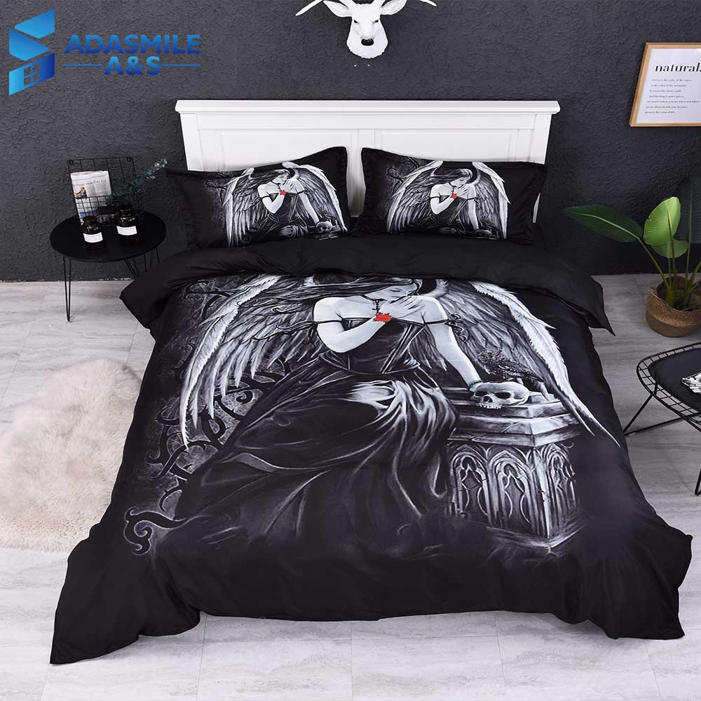 Home Textile Bedding Set Black Bedclothes 3D Dark Angel Bedding Bed Linens Personality Skull Bed Duvet Cover Set US Twin QueenHome Textile Bedding Set Black Bedclothes 3D Dark Angel Bedding Bed Linens Personality Skull Bed Duvet Cover Set US Twin Queen