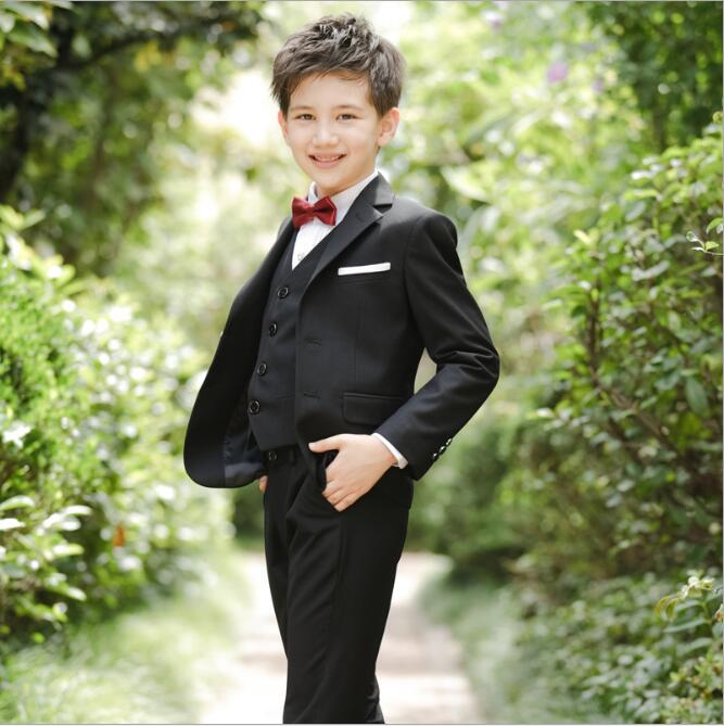 5Pcs Red Wedding England Style Gentle Boys Suits Formal For 3-15Y