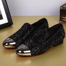 New Fashion Men Black Designer Vintage Rivet Loafers Shoes Plus Size Summer Party Shoes Men Moccasins Zapatos Hombre Sapatos