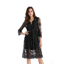 Women Elegant Sexy V Neck Floral Lace Evening Three Quater Sleeve Slim Tunic Work office Casual Party Swing Skater A-Line Dress цена и фото