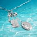 Genuine Solid 925 Calor Clave Colgante Collar de Marco de Fotos. Puede poner fotos en la caja de collar