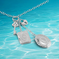 Genuine Solid 925 Sterling Silver Heat Key Pendant Photo Frame Necklace.Can put  pictures in the box  necklace