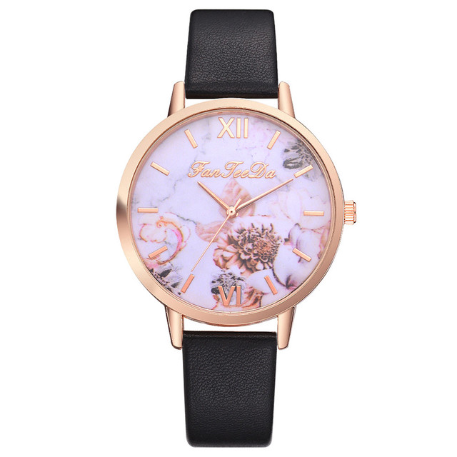 FanTeeDa Women Bracelet Watch Contracted Rose Gold Leather WristWatches Women Dr