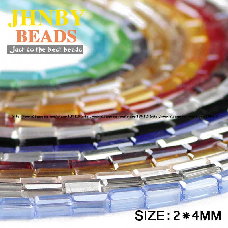 Jhnby Hình Chữ Nhật Hạt Pha Lê Áo Hạt Pha Lê 2*4 Mm 100 Bộ Vuông Rời Hạt Trang Sức Vòng Tay Làm Cho accessoriesdiy