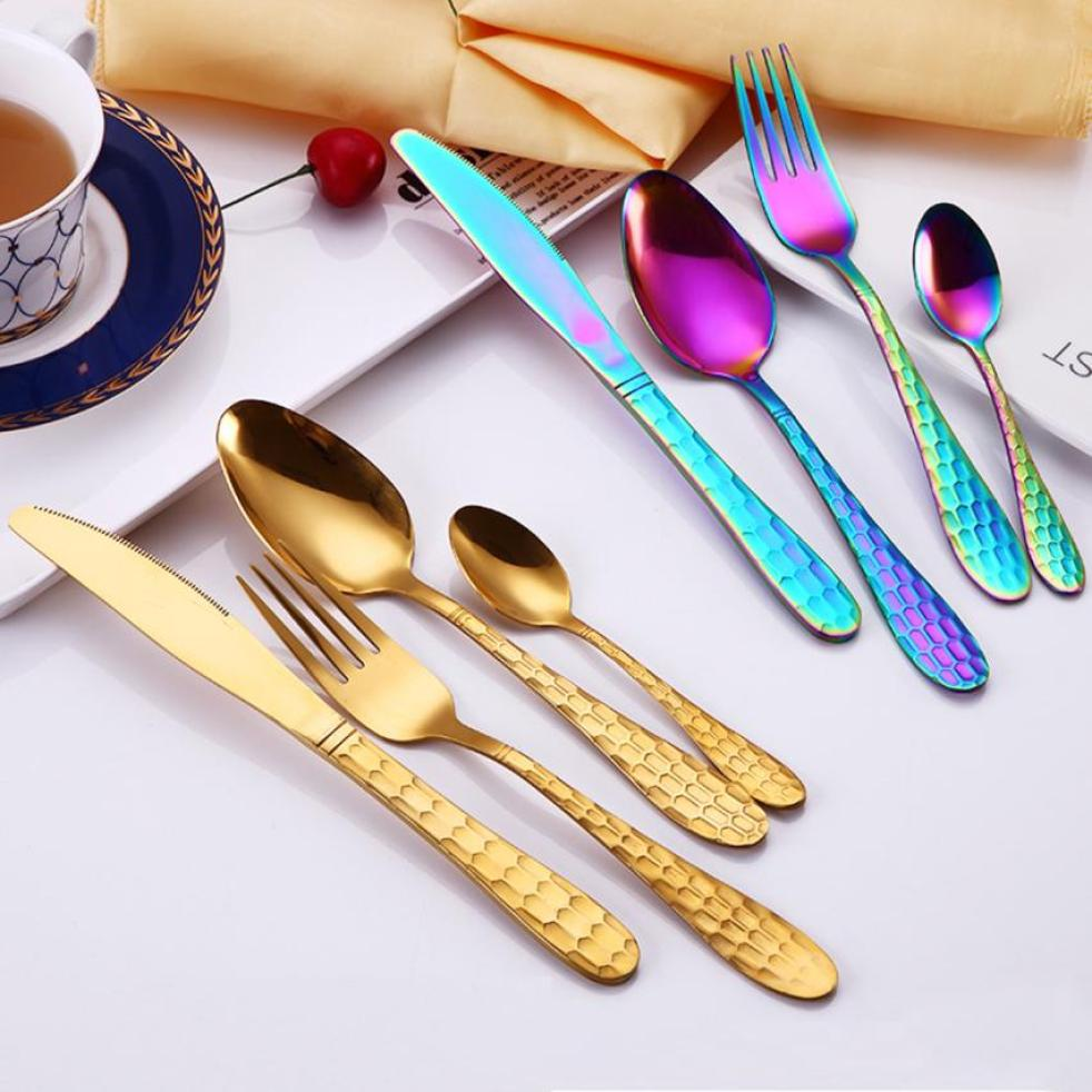 4PC/Set Stainless Steel Upscale Gold Plated Dinnerware Western Dinner Flatware Golden Cutlery Knife Fork Spoon Coffee Spoon Set