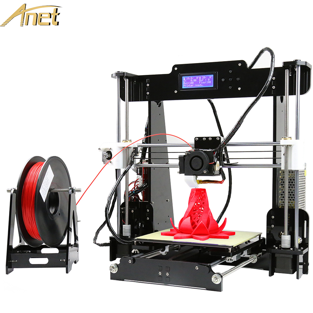 Anet A8 Black 3d printer Kit DIY Precision Reprap 3d printer DIY kit Aluminum Hotbed 8GBSD Card LCD Screen free 10m filament anet a6 a8 aluminium hotbed high precision desktop reprap prusa i3 3d printer kit diy with free 10m filament tf card lcd screen