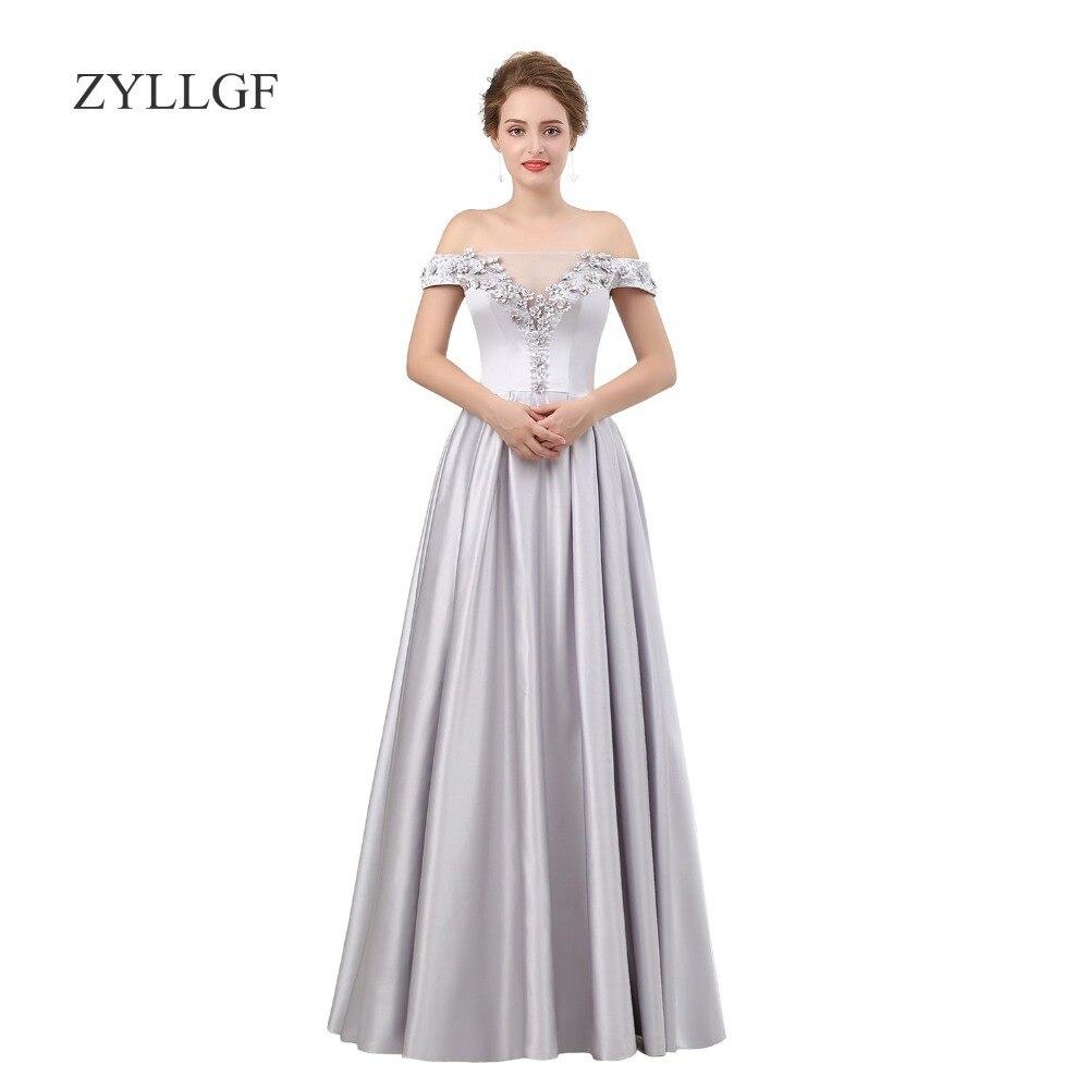 ZYLLGF Vestidos De Madre De Novia Largo A-line Off Shoulder Lace Up Back Satin Mother Gowns With Beadings MF02