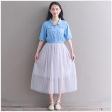 2018 latest fashion women denim vintage dress short sleeve casual mesh dress